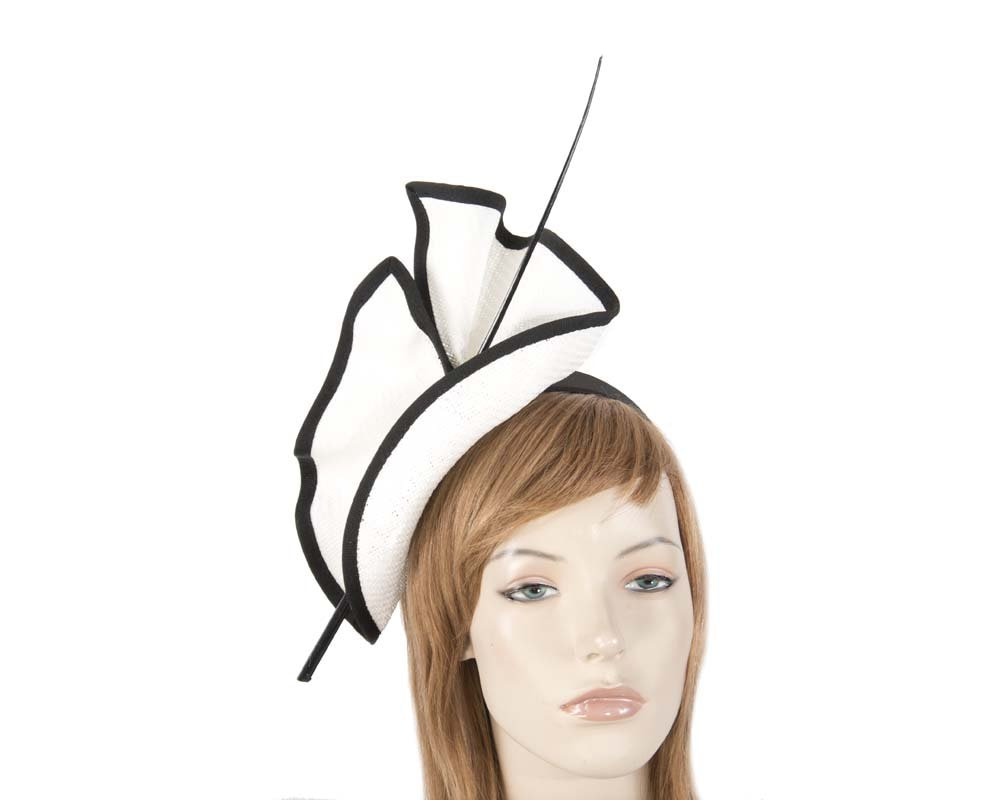 Bright white & black Max Alexander racing fascinator made in Australia MA686WB