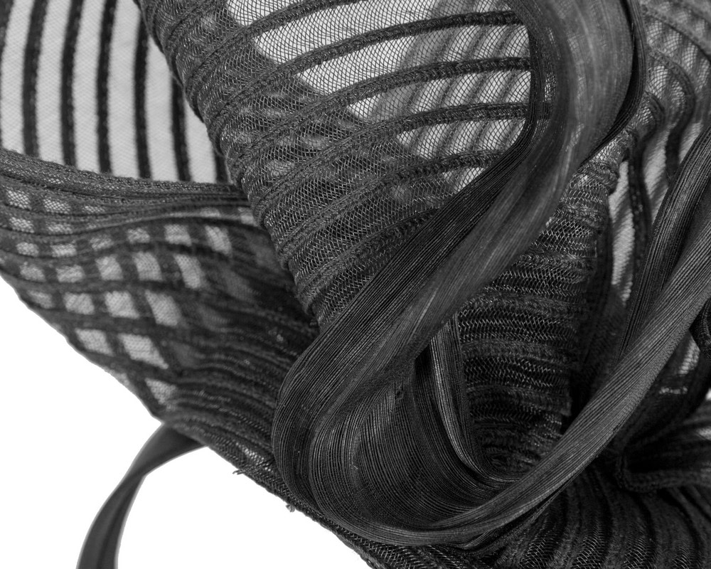 Tall black bespoke racing fascinator by Fillies Collection