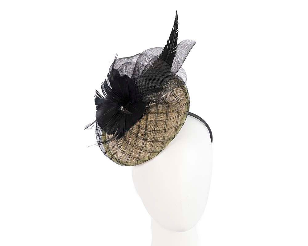 Yellow & black racing fascinator by Cupids Millinery Melbourne