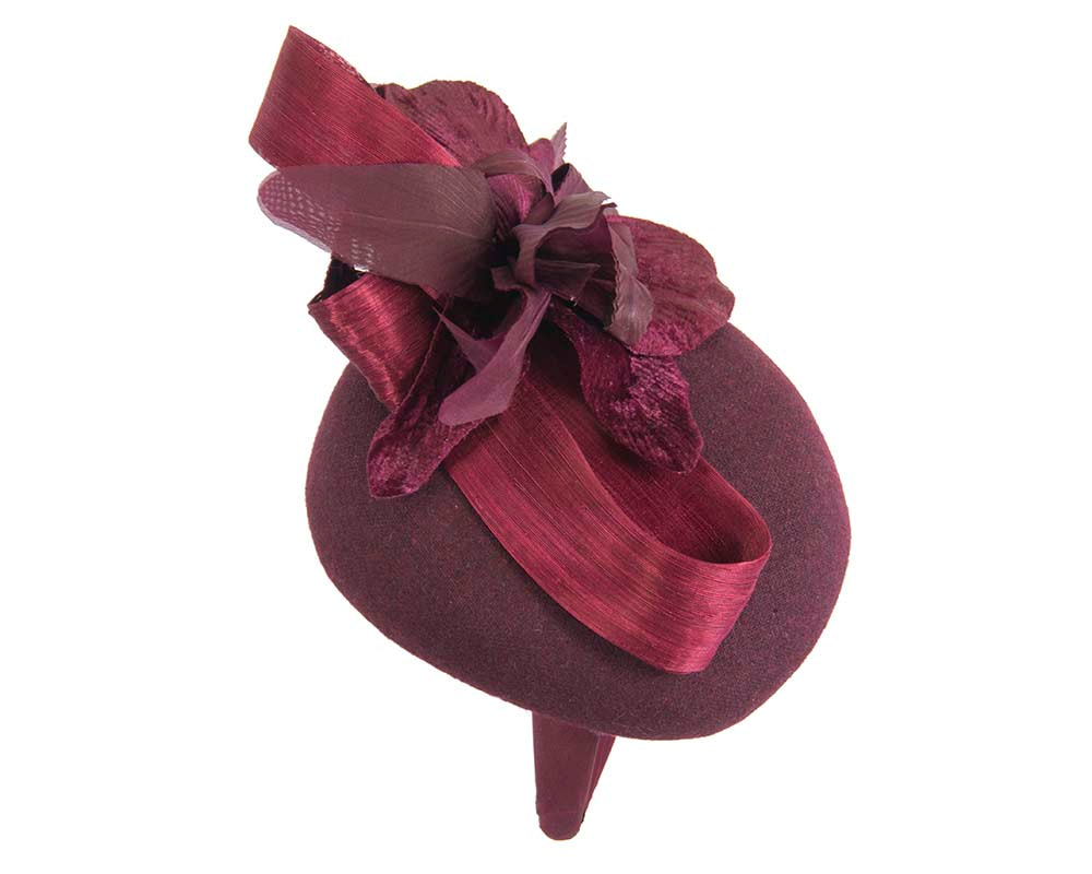 Tall burgundy wine winter racing pillbox fascinator by Fillies Collection