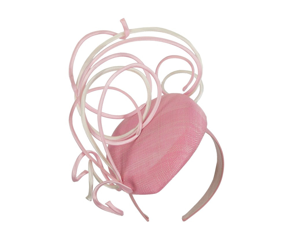 Designers pink & cream pillbox fascinator by Fillies Collection