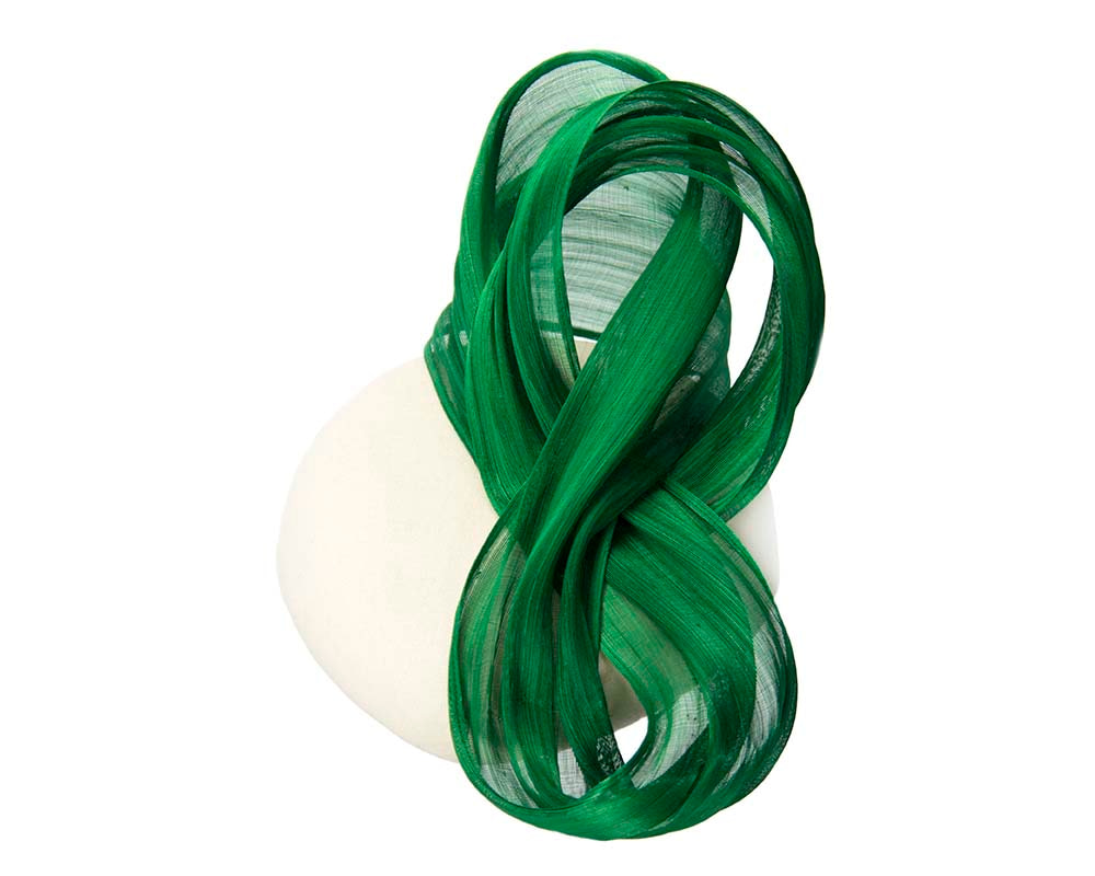 Cream green autumn winter racing pillbox with silk bow