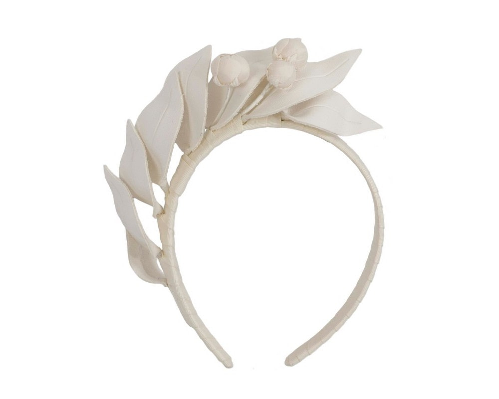 Cream sculptured leather headband racing fascinator by Max Alexander