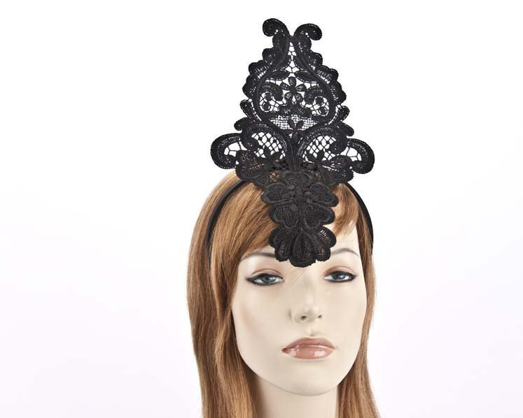 Black lace crown fascinator for races MA670