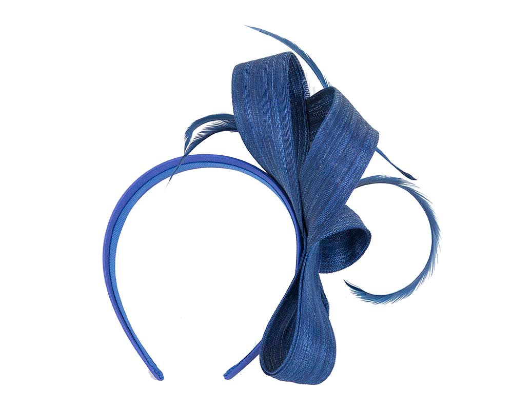 Royal blue abaca loops and feathers racing fascinator by Fillies Collection