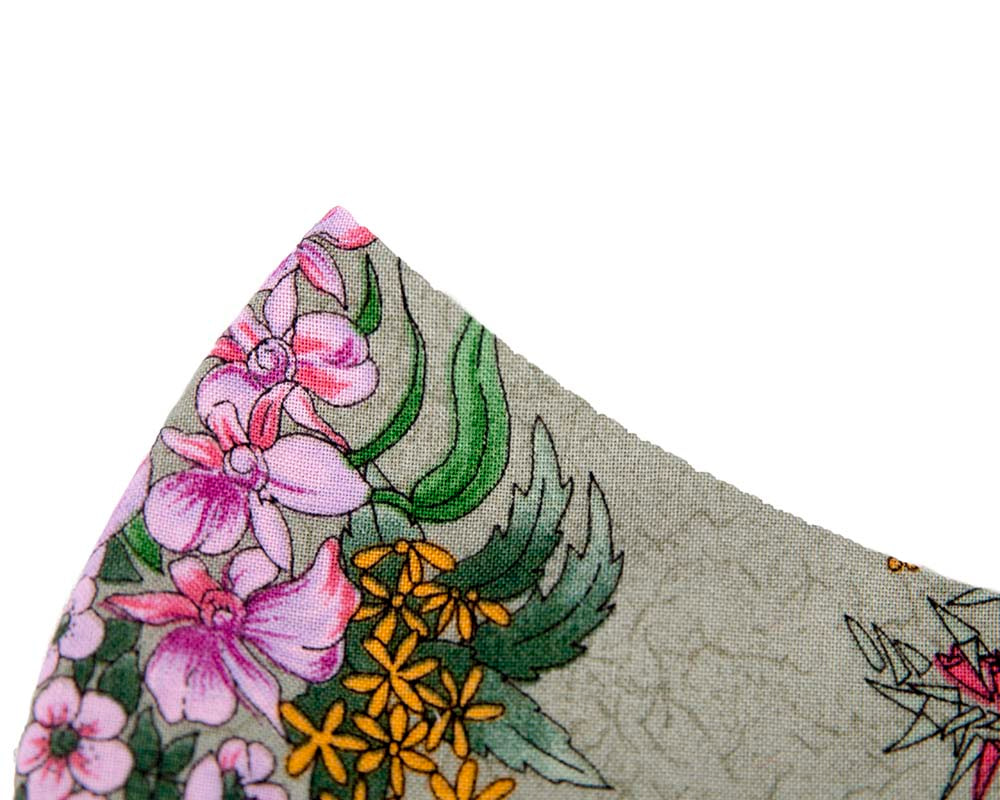 Comfortable re-usable cotton face mask with floral pattern