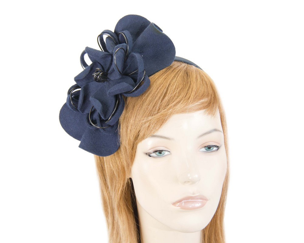 Navy felt flower racing fascinator