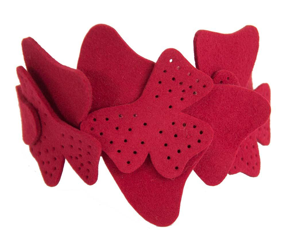 Petite red felt fascinator by Max Alexander