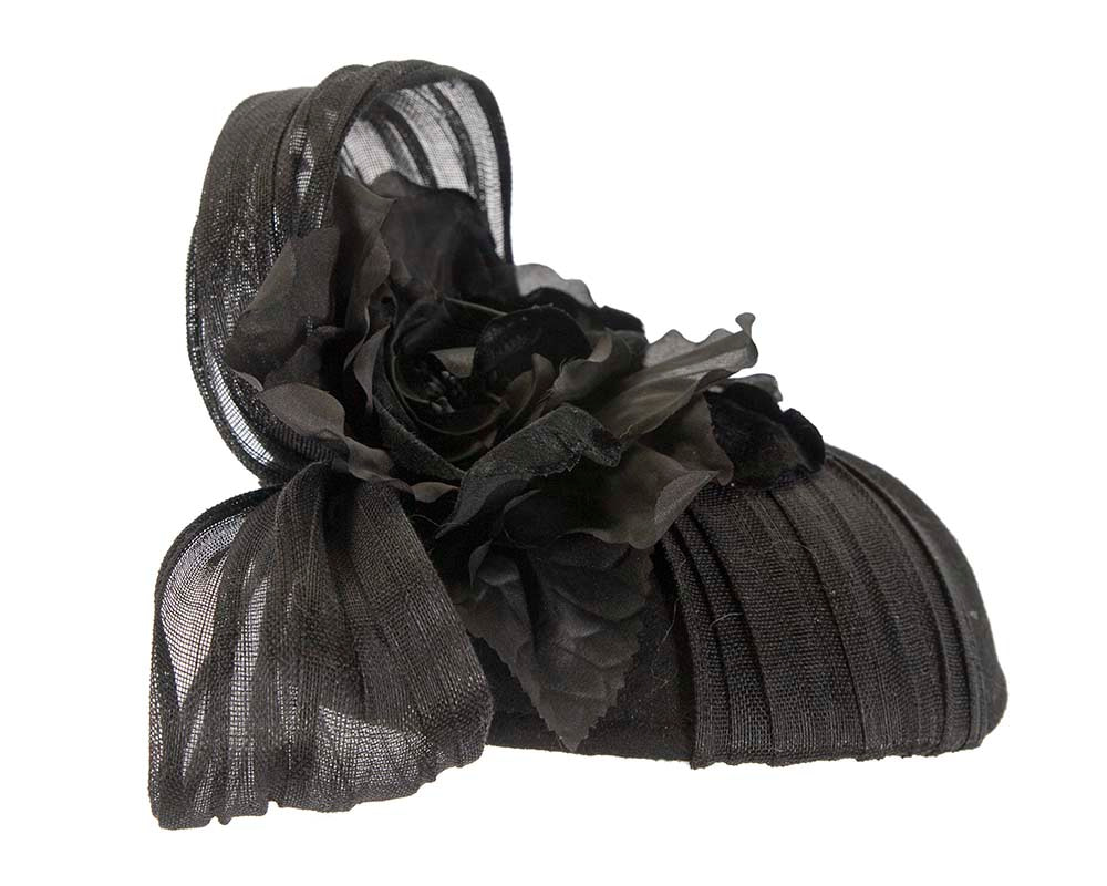 Black pillbox ladies felt pillbox hat with flower by Fillies Collection