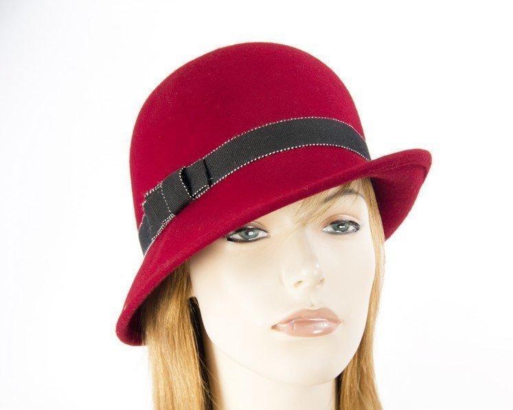 Red Max Alexander felt bucket cloche hat