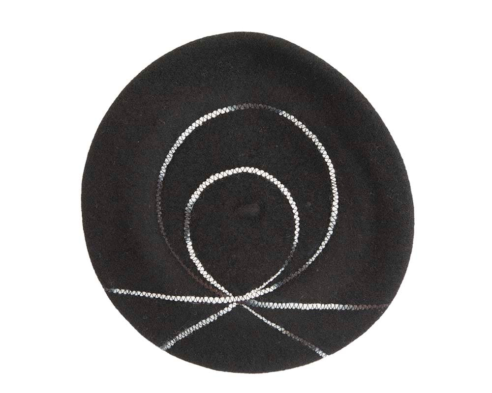 Black french beret with spirals by Max Alexander