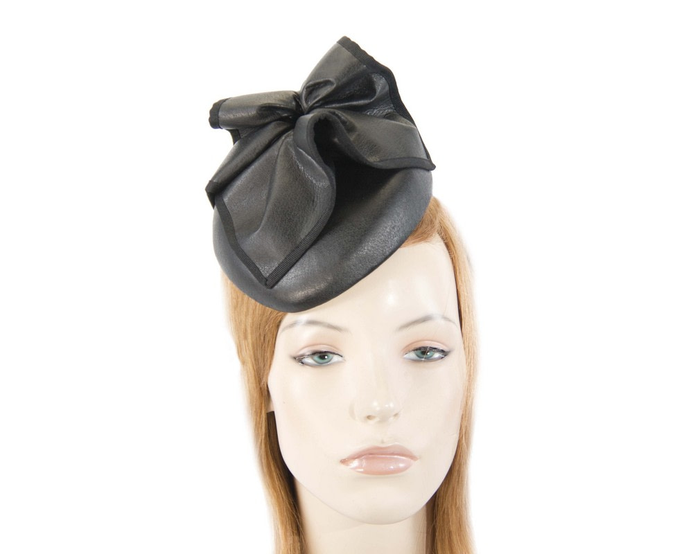 Black leather racing pillbox fascinator