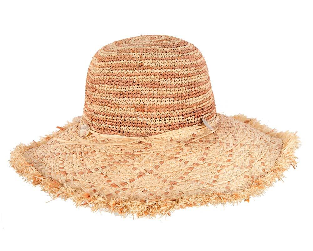 Wide brim straw summer sun bucket hat