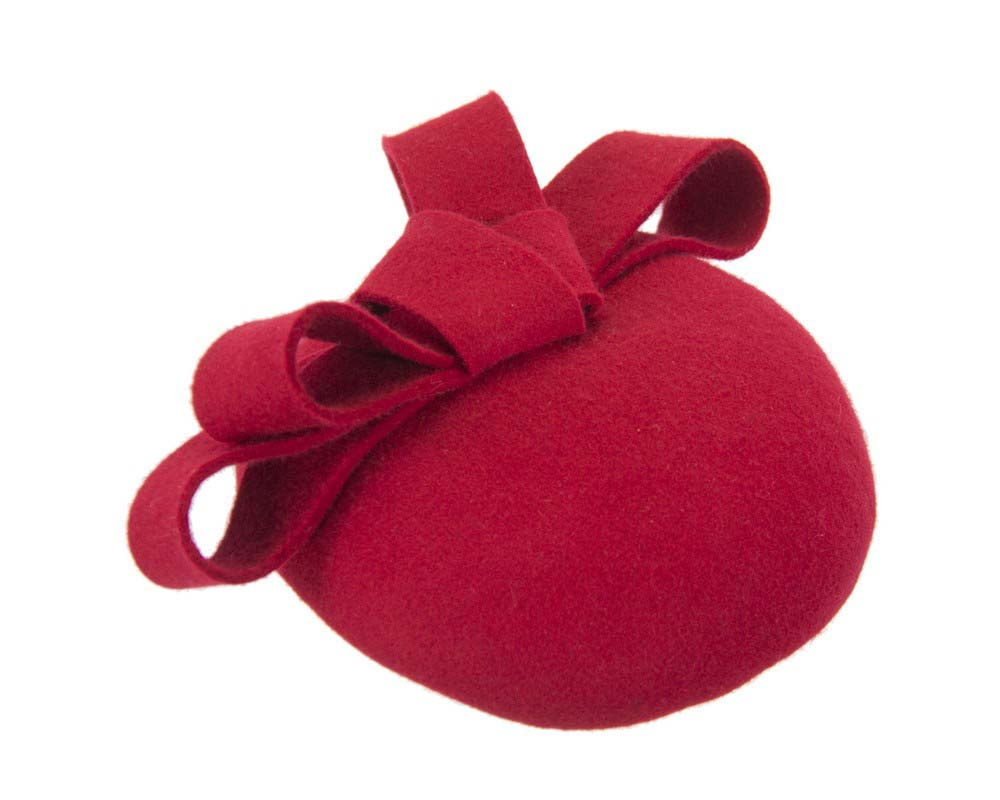 Red felt winter racing pillbox fascinator