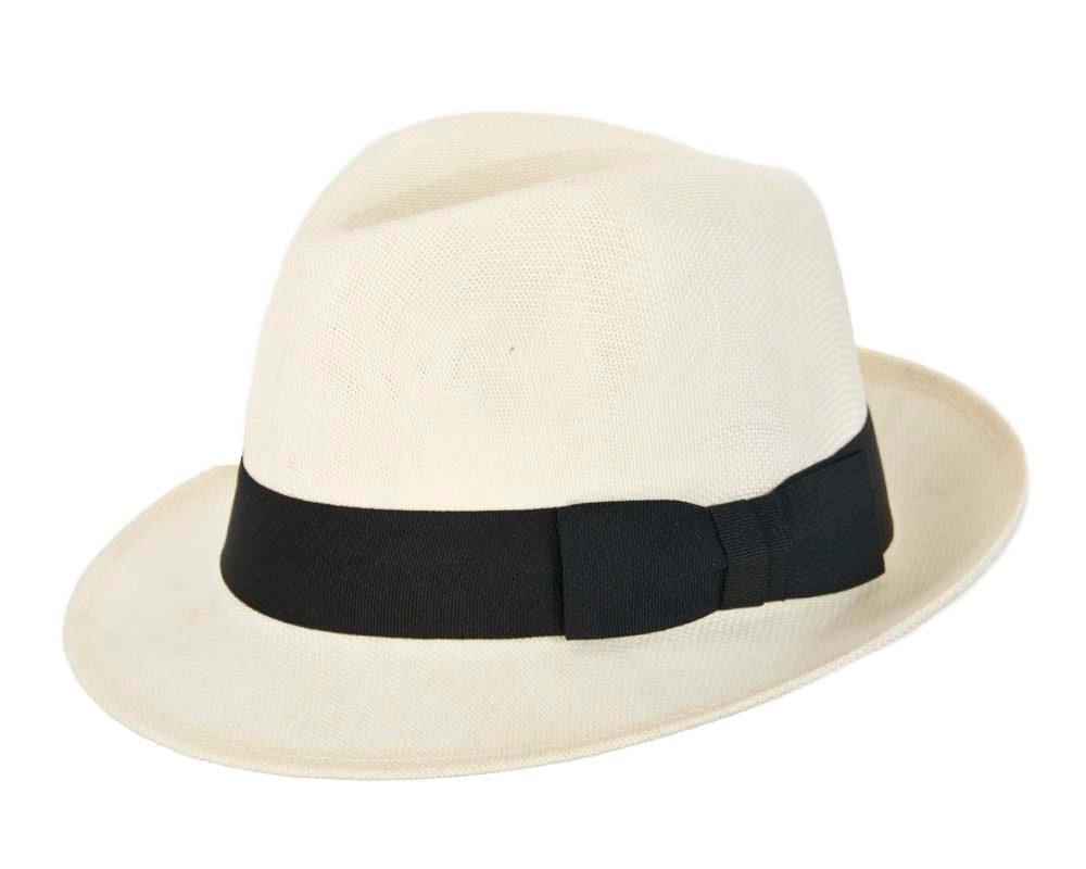Cream mens summer fedora hat