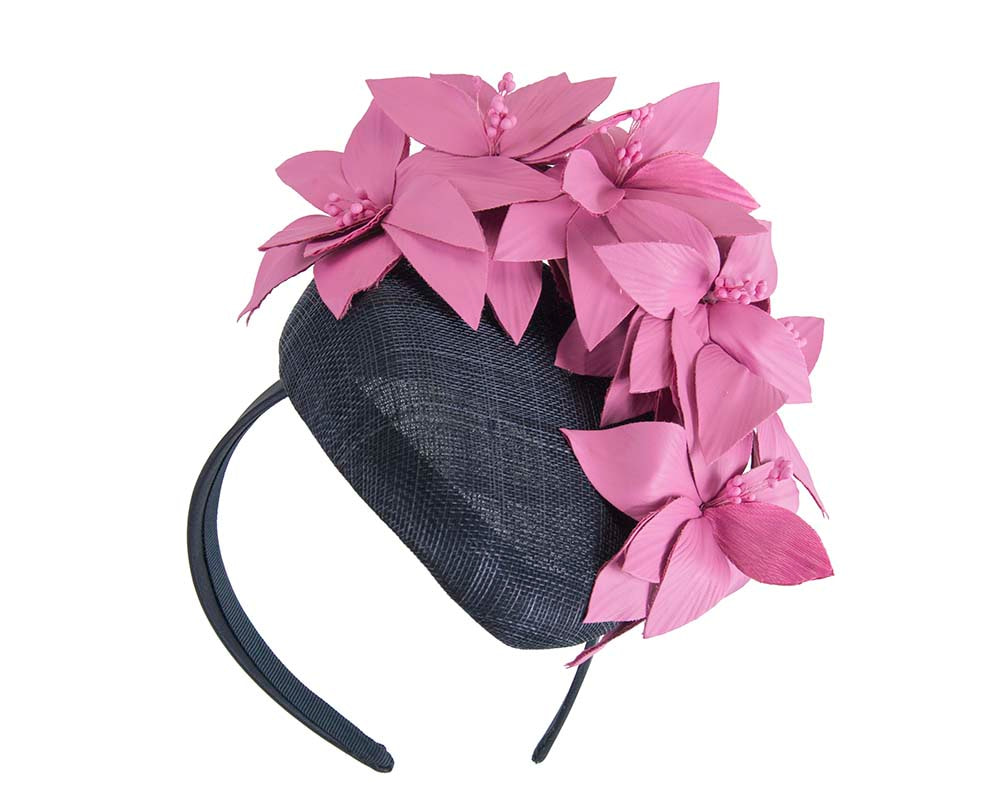 Navy & fuchsia pillbox with leather flowers by Fillies Collection