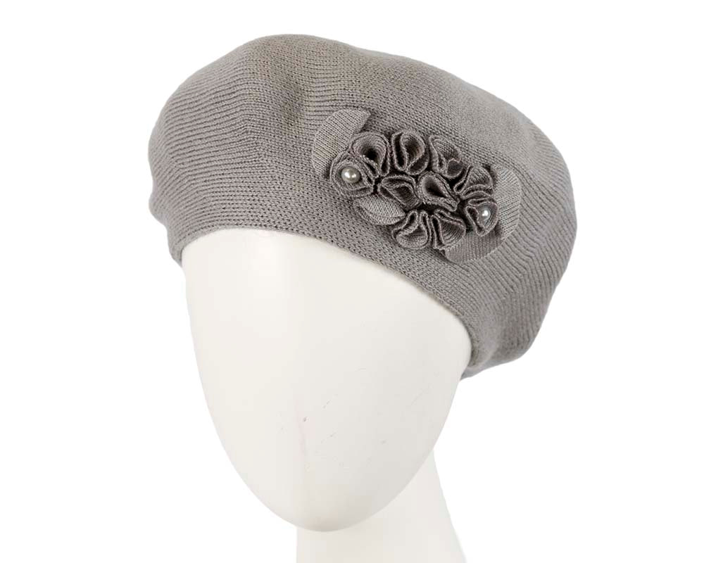 Warm woven grey beret by Max Alexander