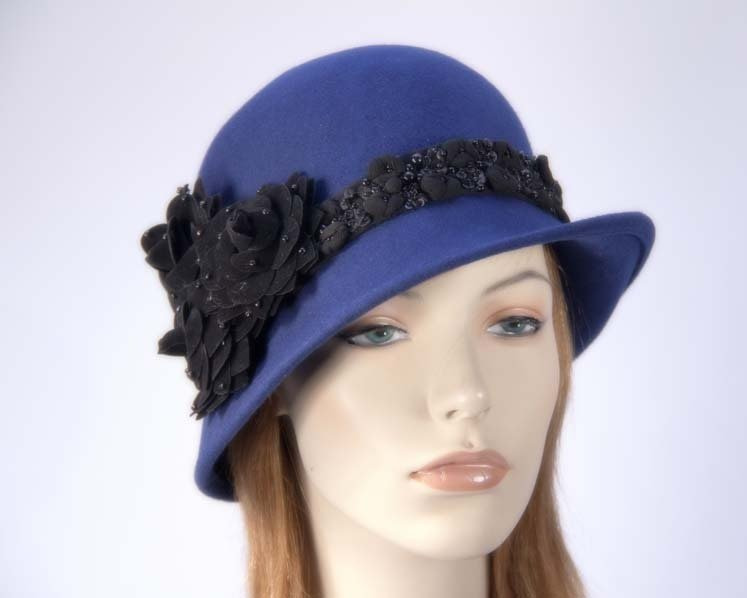 Navy ladies winter felt cloche hat buy online in Australia F573N