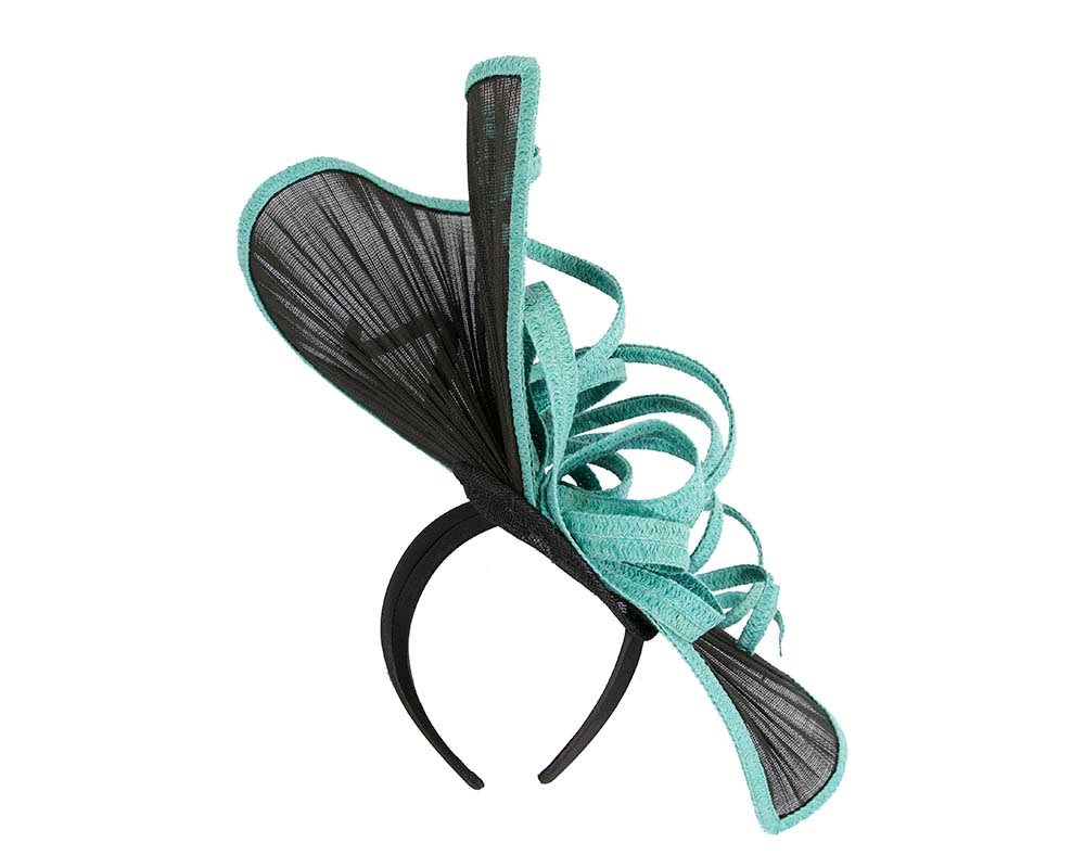 Large black & turquoise jinsin racing fascinator by Fillies Collection