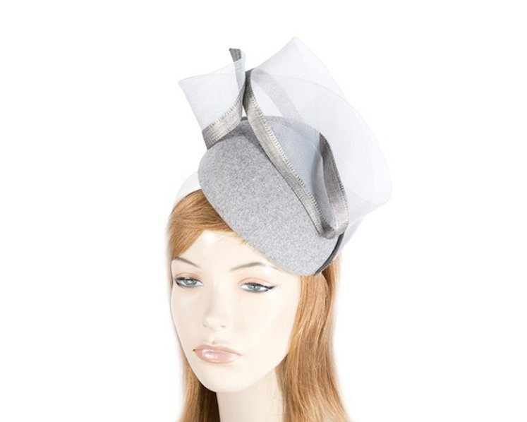 Silver pillbox winter racing fascinator