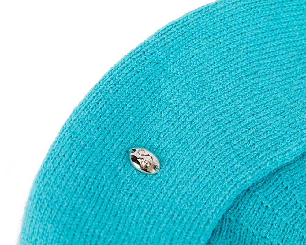 Classic woven turquoise beret by Max Alexander