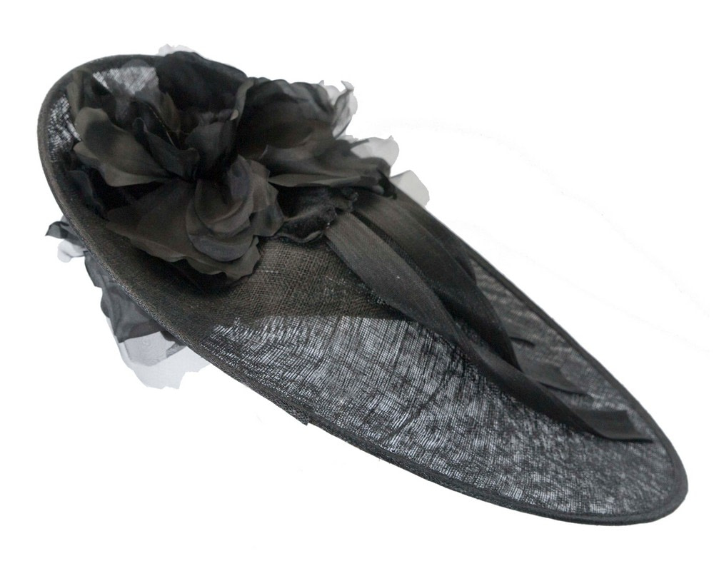 Large black plate racing fascinator by Fillies Collection