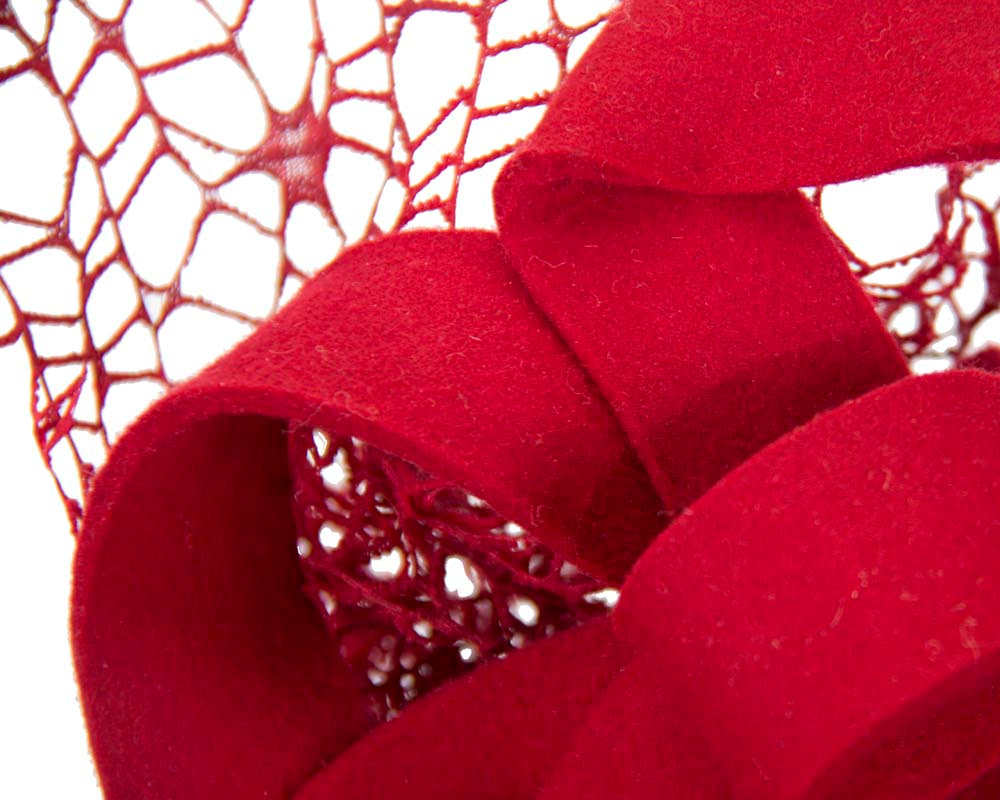 Bespoke red felt winter fascinator