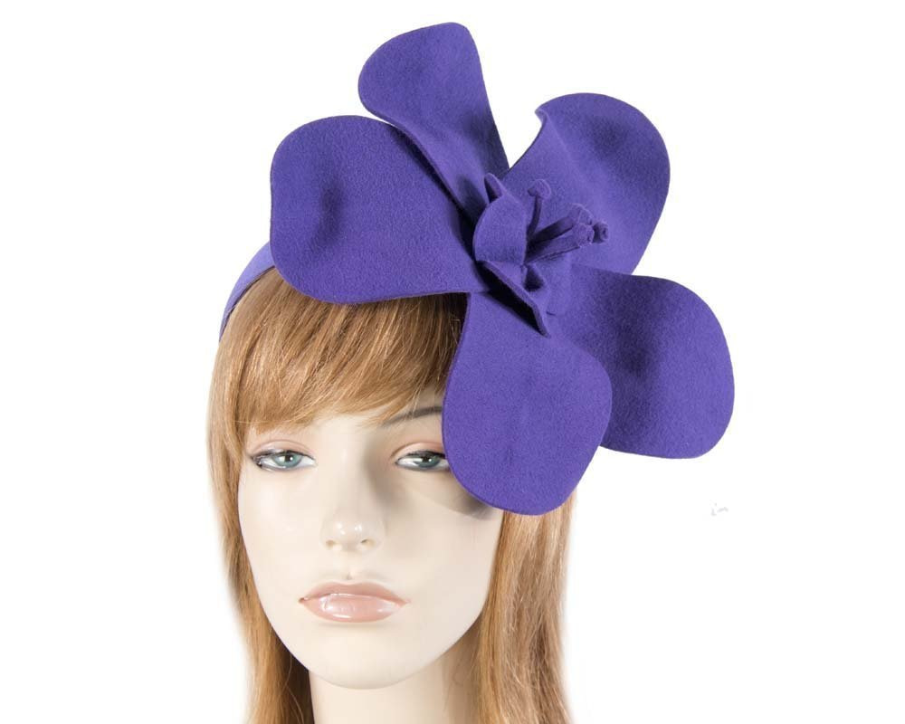 Unusual purple felt Max Alexander fascinator for races buy online in Australia J295P