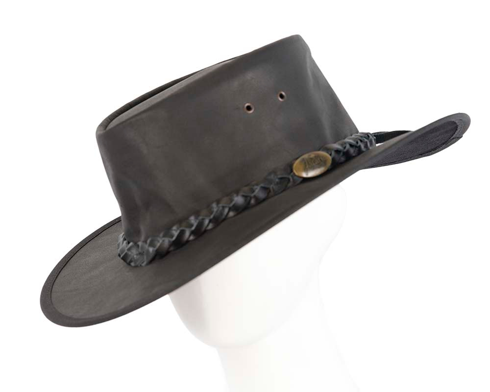 Black Australian Buffalo Leather Bush Outback Jacaru Hat
