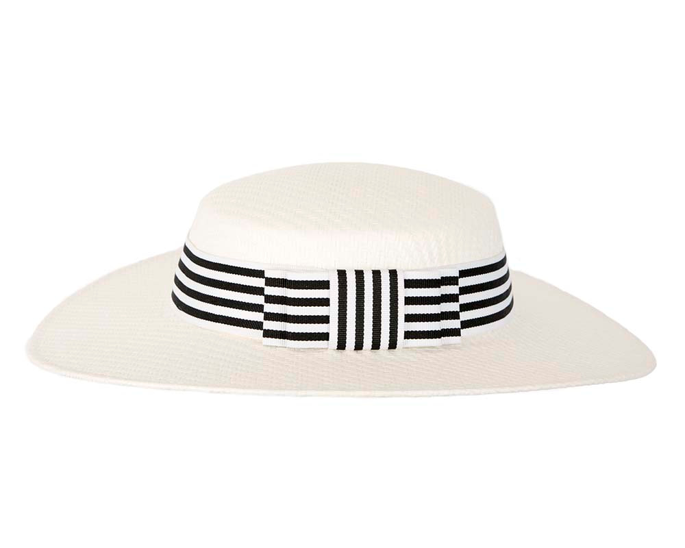 White and Black boater hat by Max Alexander
