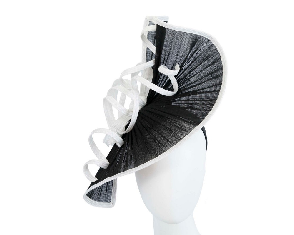 Large black & white jinsin racing fascinator by Fillies Collection