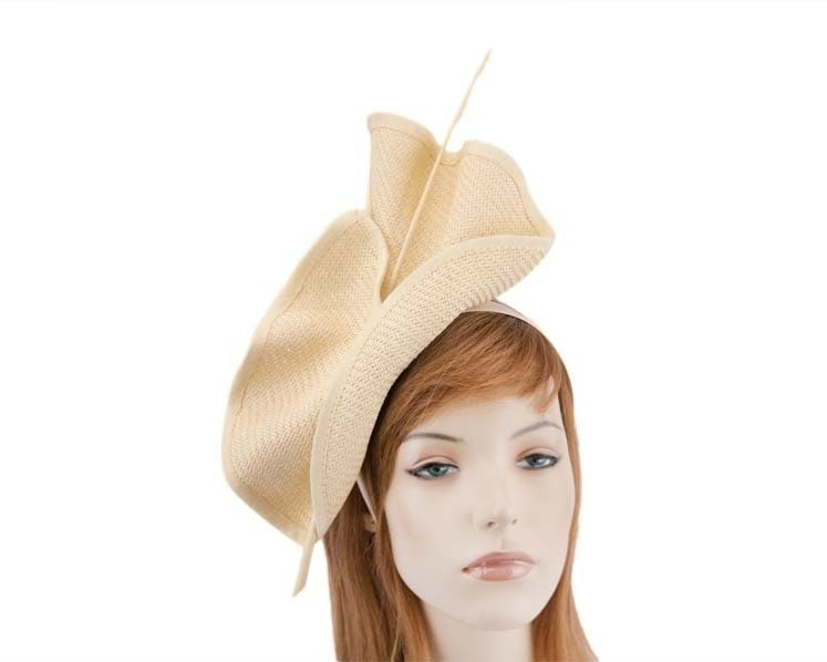 Bright natural Max Alexander racing fascinator made in Australia MA686NT