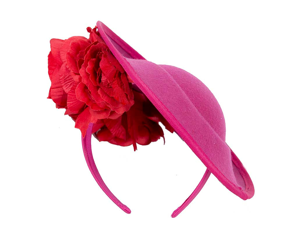 Large fuchsia plate with red flowers winter racing fascinator