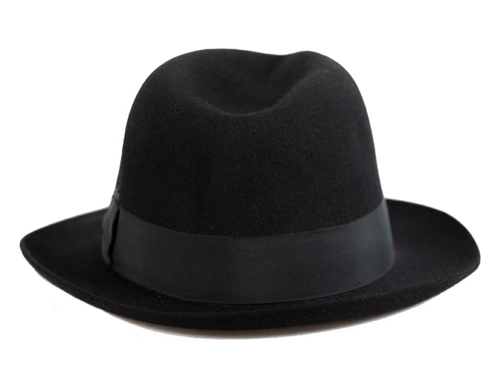 Black rabbit fur wide brim fedora hat
