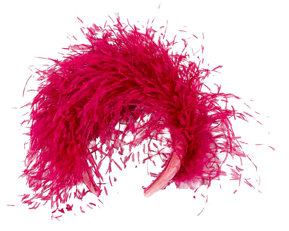 Bespoke fuchsia headband with ostrich feathers by Cupids Millinery