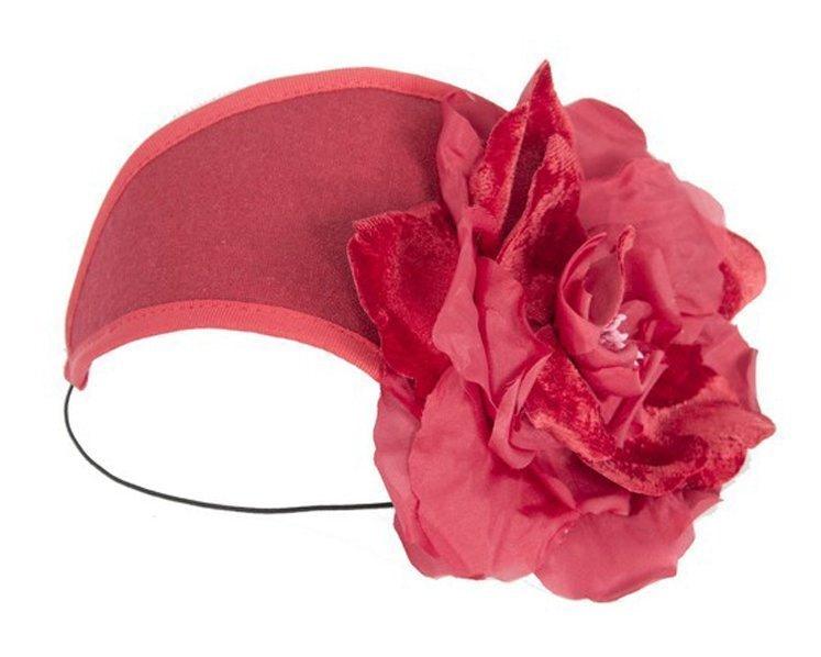 Red winter headband with flower