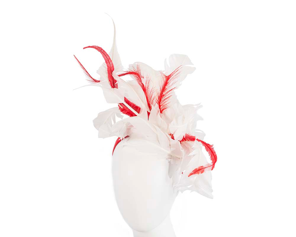 Bespoke ivory and red racing fascinator