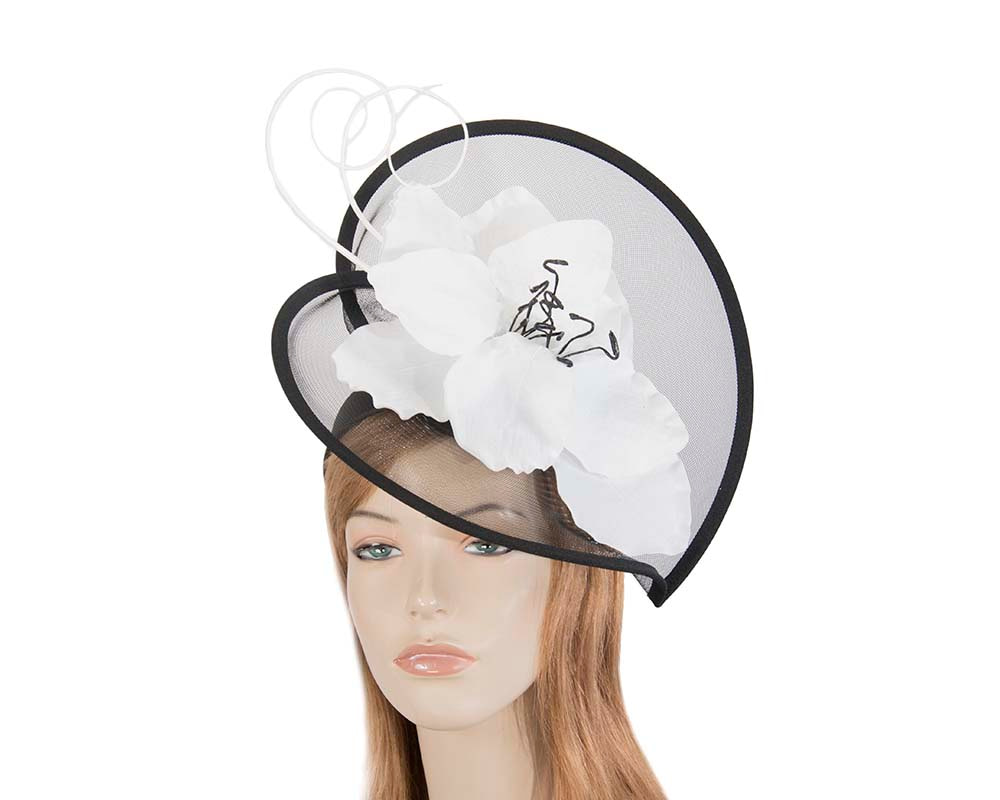Large black & white flower heart fascinator