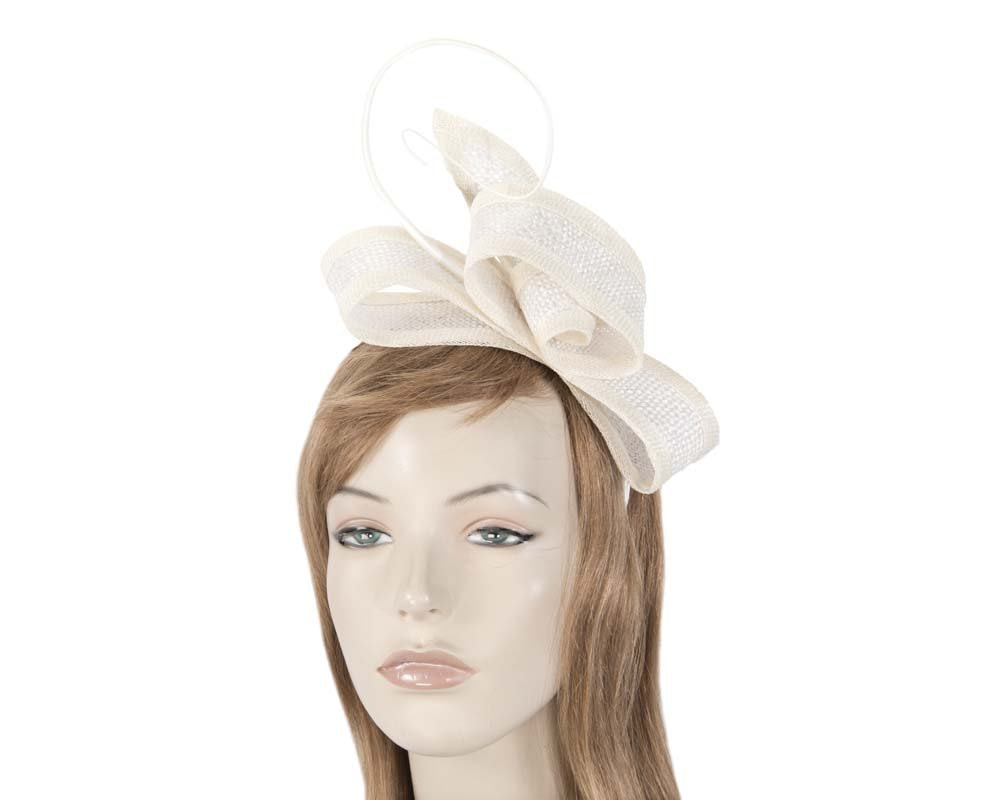 Cream bow Max Alexander fascinator for Melbourne Cup Derby races buy online in Aus MA620C