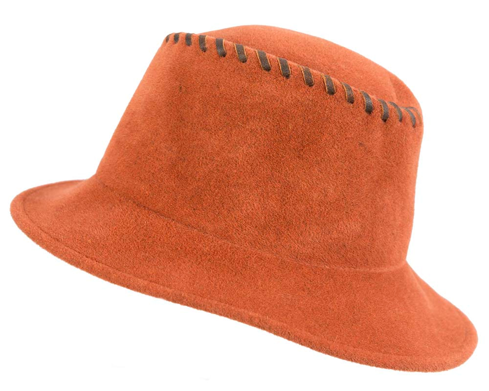 Exclusive orange bucket hat with leather trim