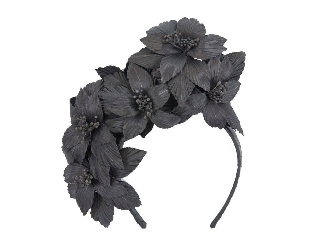 Black sculptured flower headband fascinator by Fillies Collection