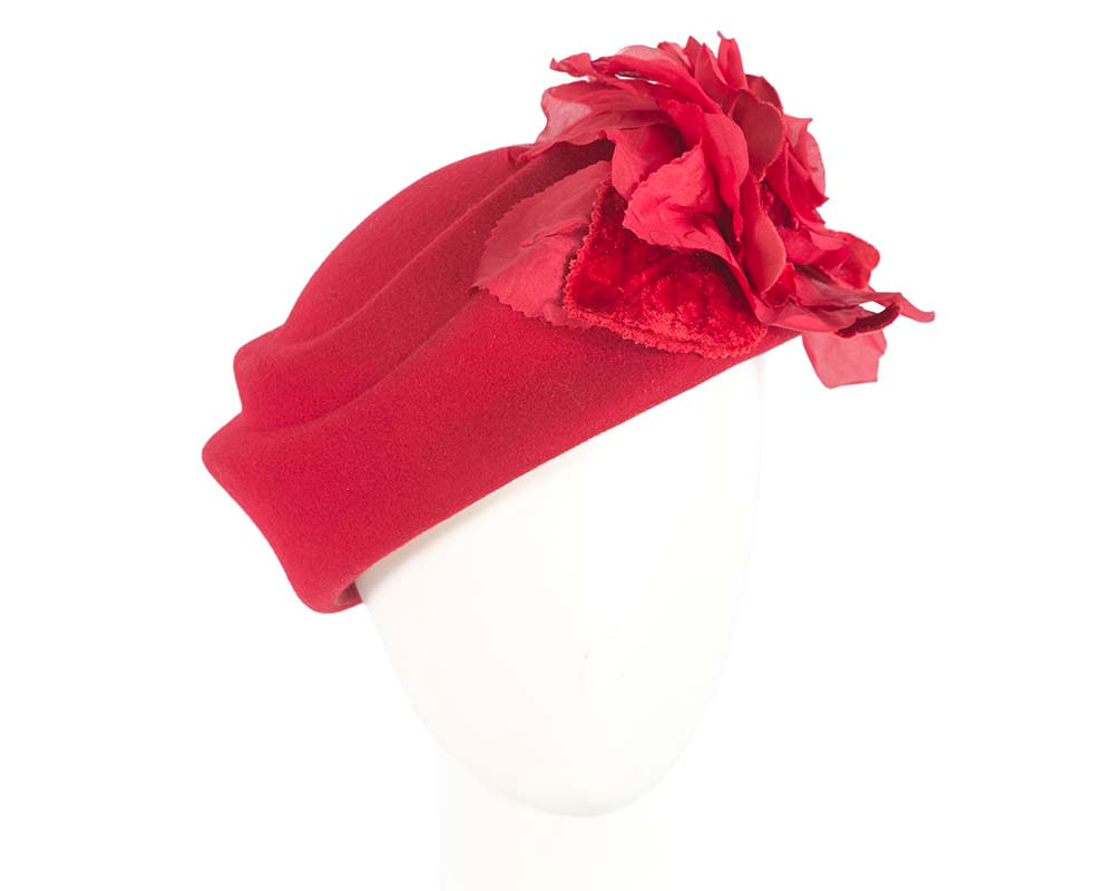 Red large felt pillbox with flower for winter racing F593R