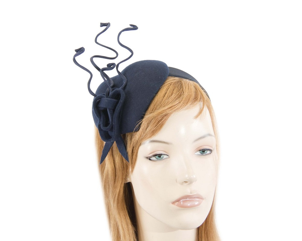Navy heart winter fascinator