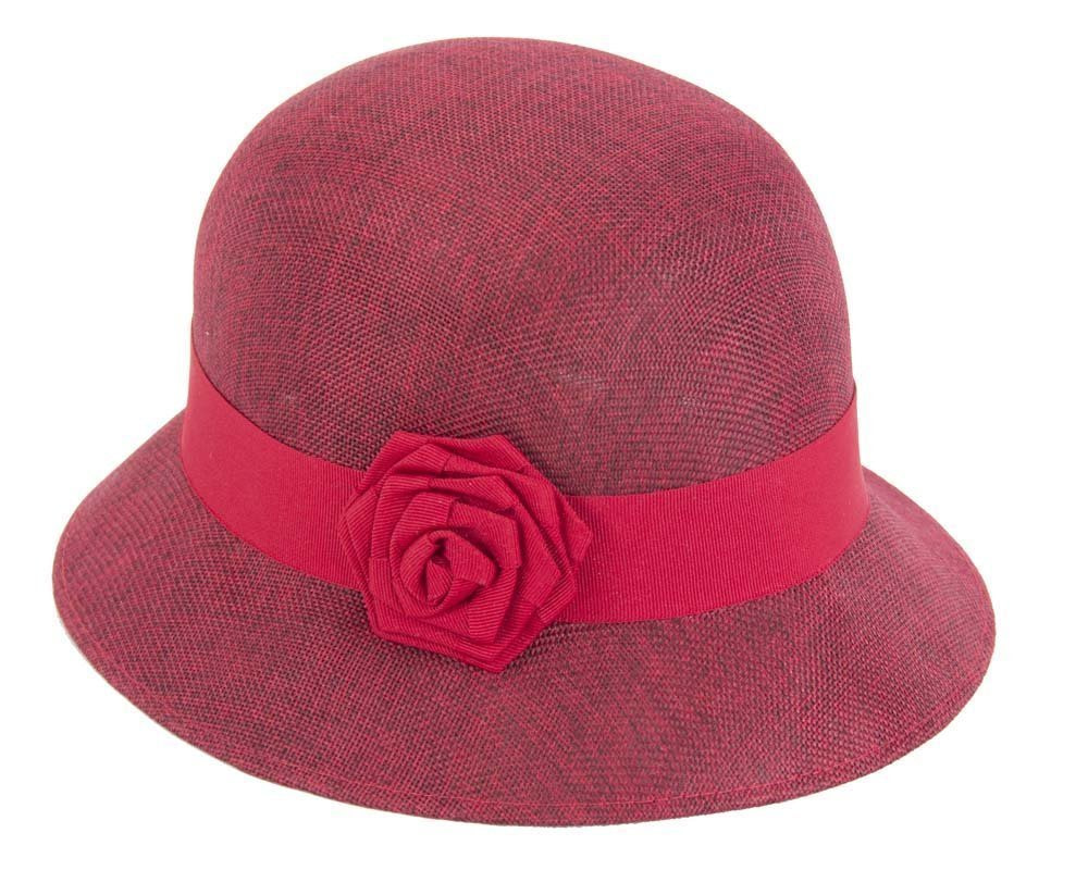 Burgundy red cloche hat