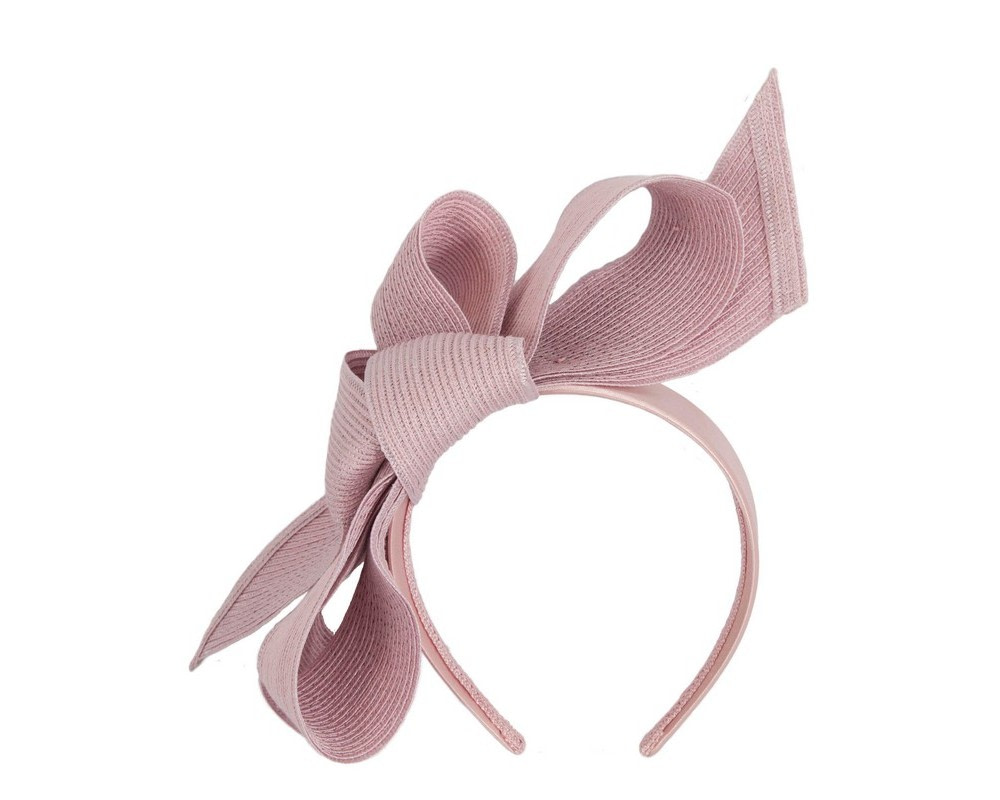Large dusty pink bow racing fascinator by Max Alexander