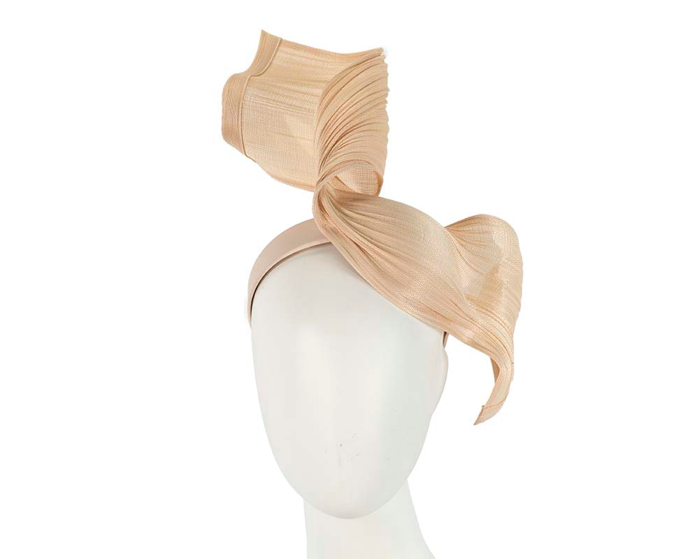 Large nude bespoke Jinsin racing fascinator by Fillies Collection