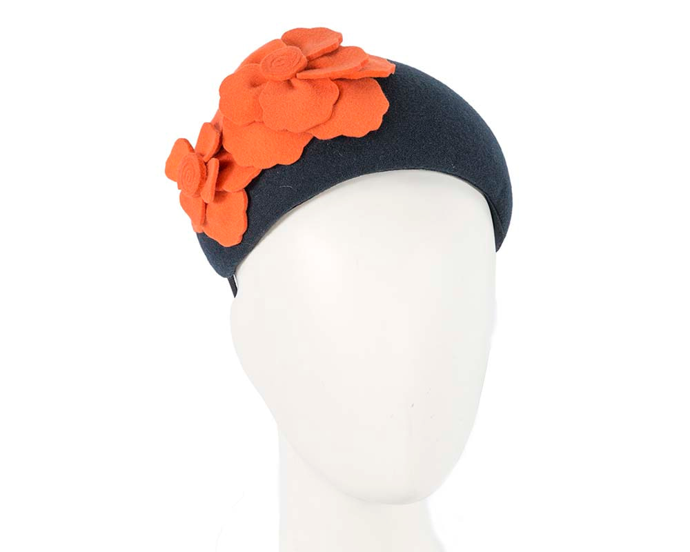 Wide navy & orange winter headband with flowers by Max Alexander