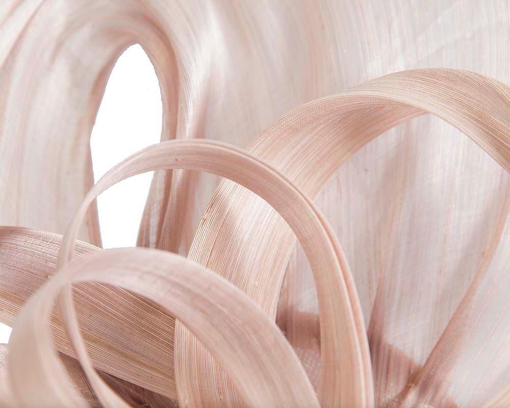 Large blush silk abaca heart fascinator