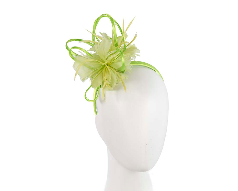 Lime feather racing fascinator