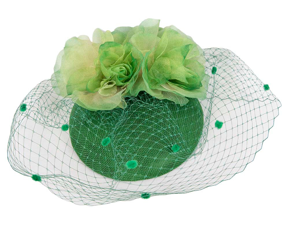 Green ladies pillbox fascinator with veil by Cupids Millinery Melbourne